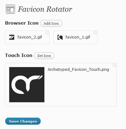 Adding favicon with Favicon Rotator