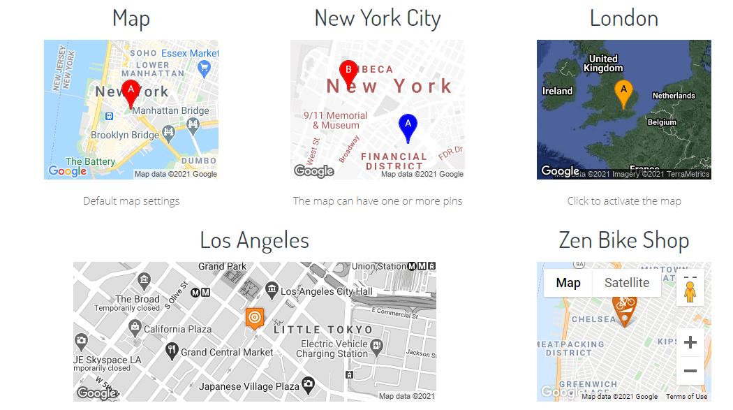 Google Maps Widget PRO map examples