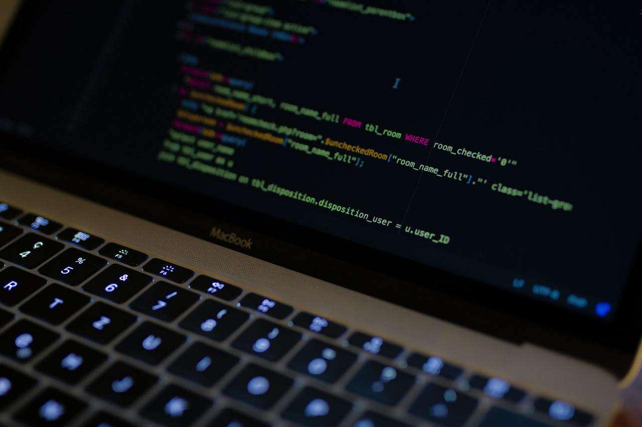 SQL code on laptop