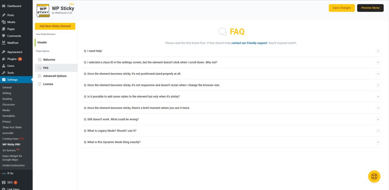 WP Sticky plugin FAQ section