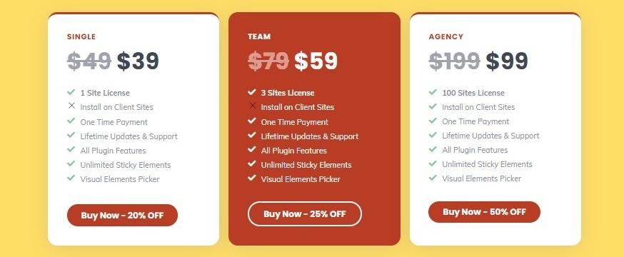 WP Sticky pricing plans