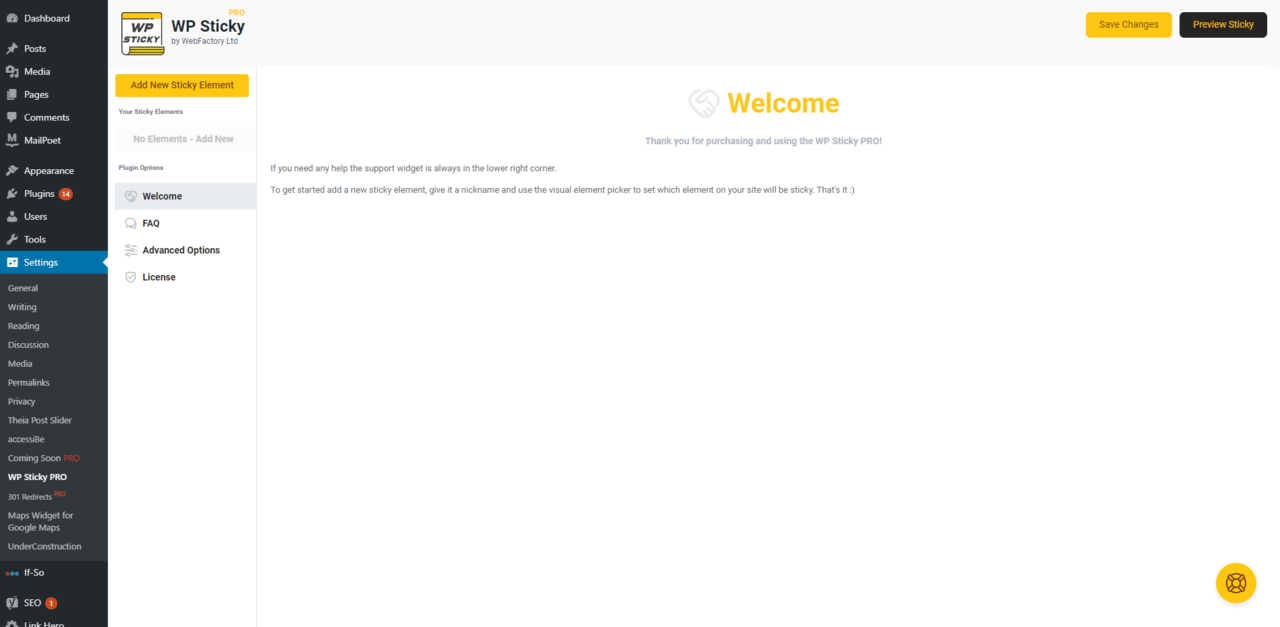 WP Sticky Pro welcome page