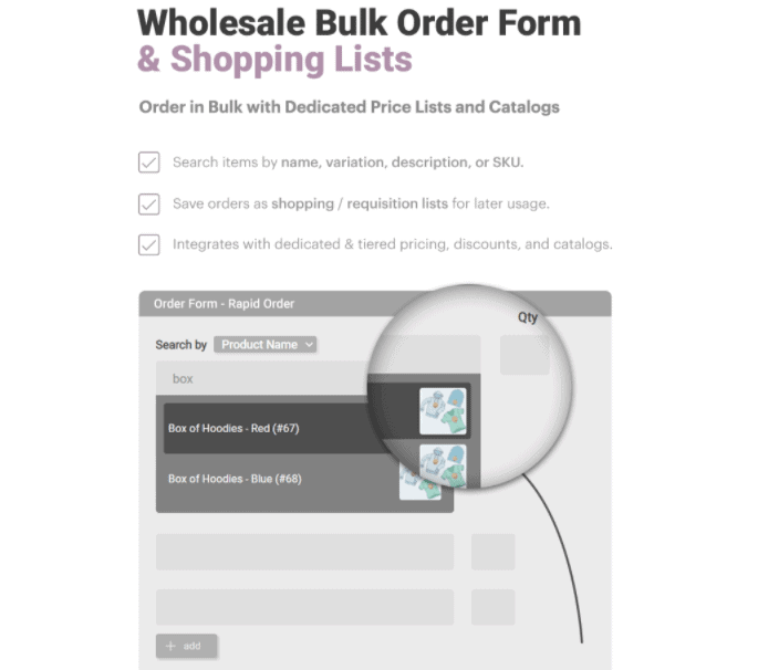 B2B & Wholesale Suite bulk order form and shopping lists feature overview