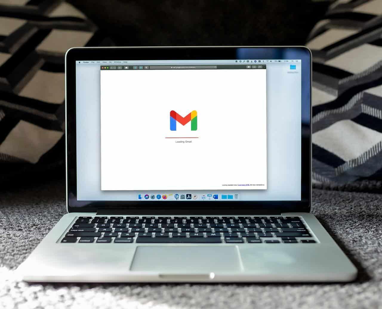 Gmail loading screen on laptop