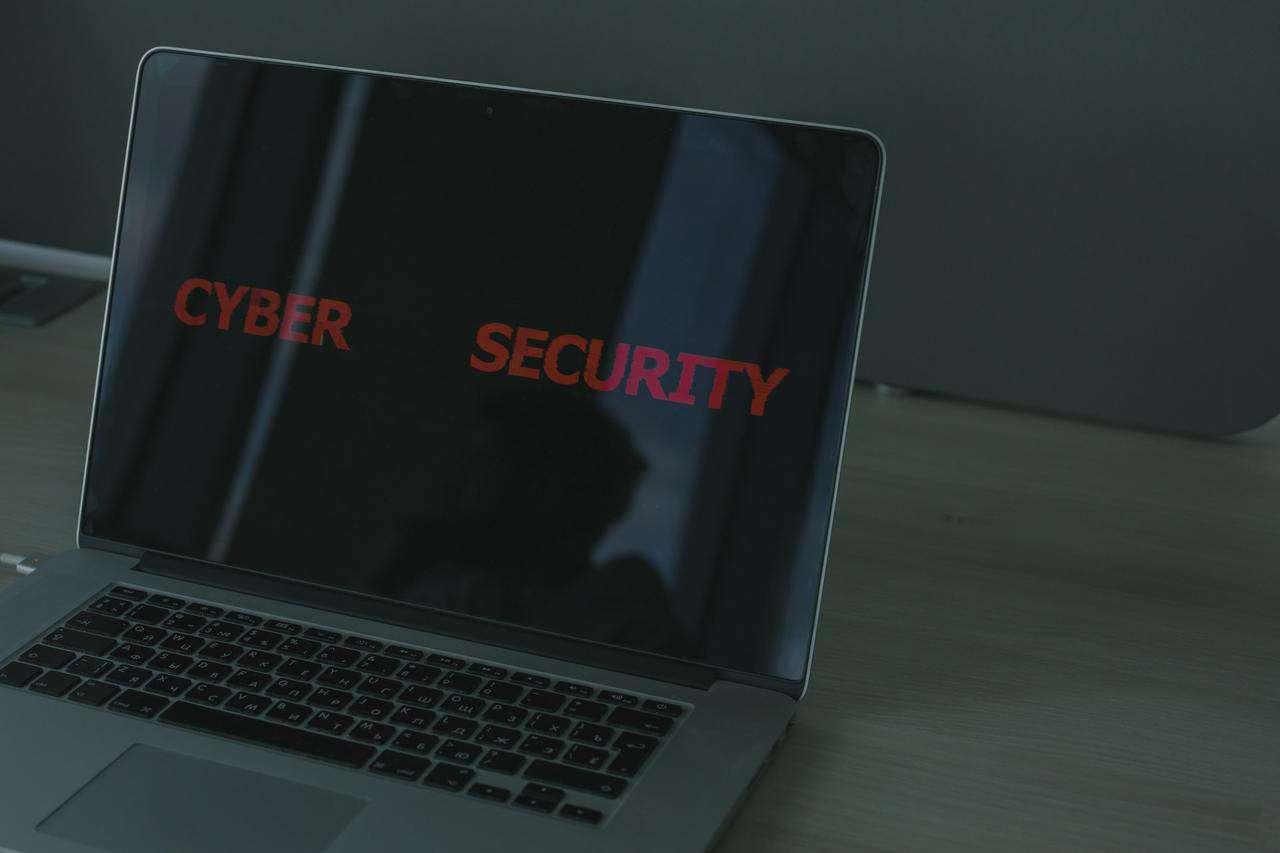 Laptop screen saying cybersecurity