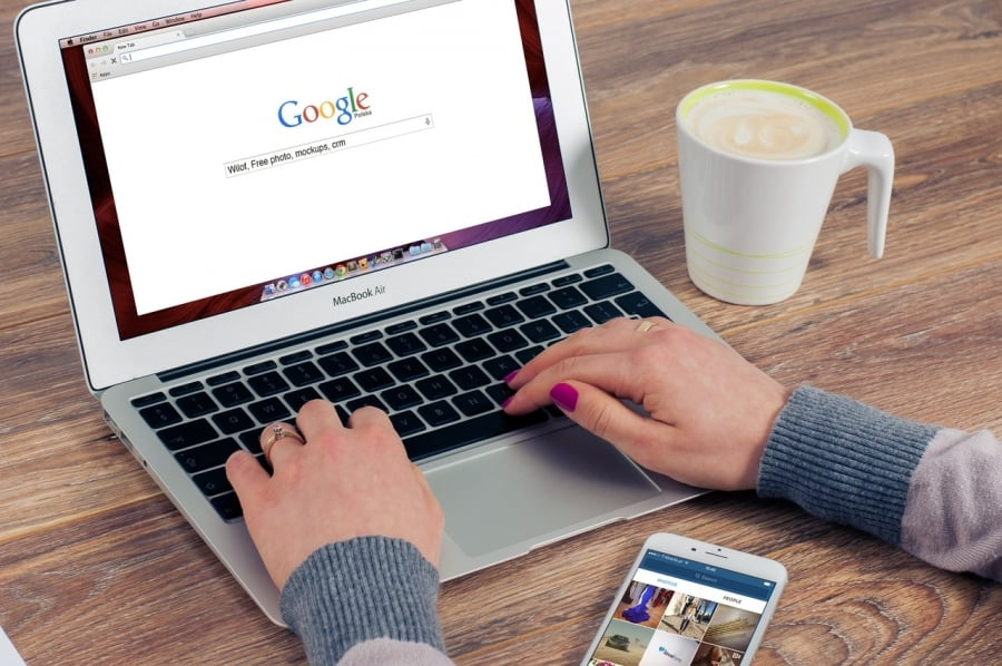 Girl searching on Google