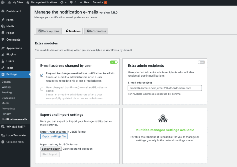 Manage Notification E-mails modules
