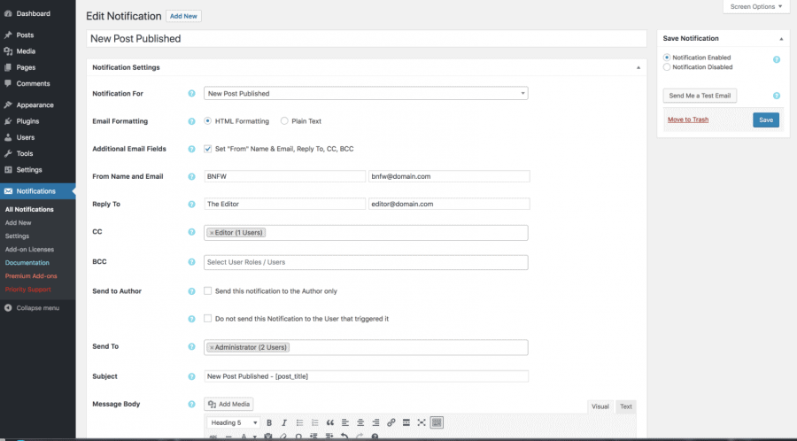 Customize WordPress emails and alerts notifications