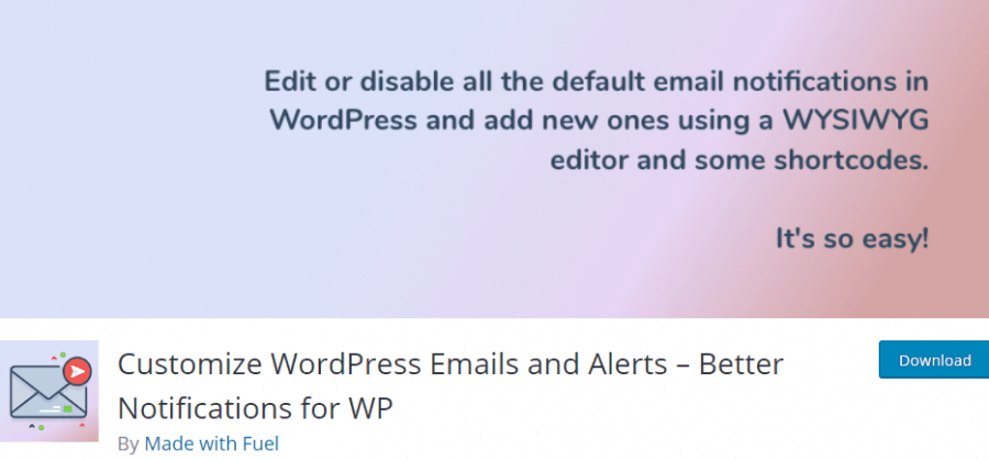 Customize WordPress emails and alerts plugin banner
