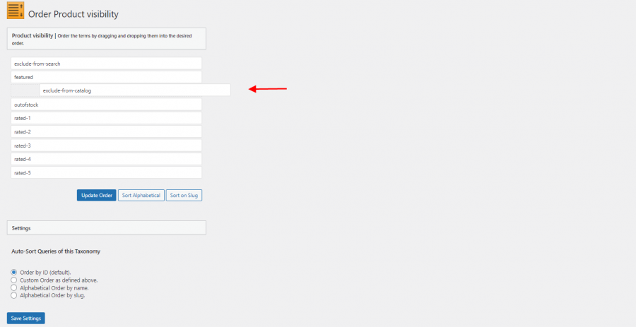 Exclude from catalog option
