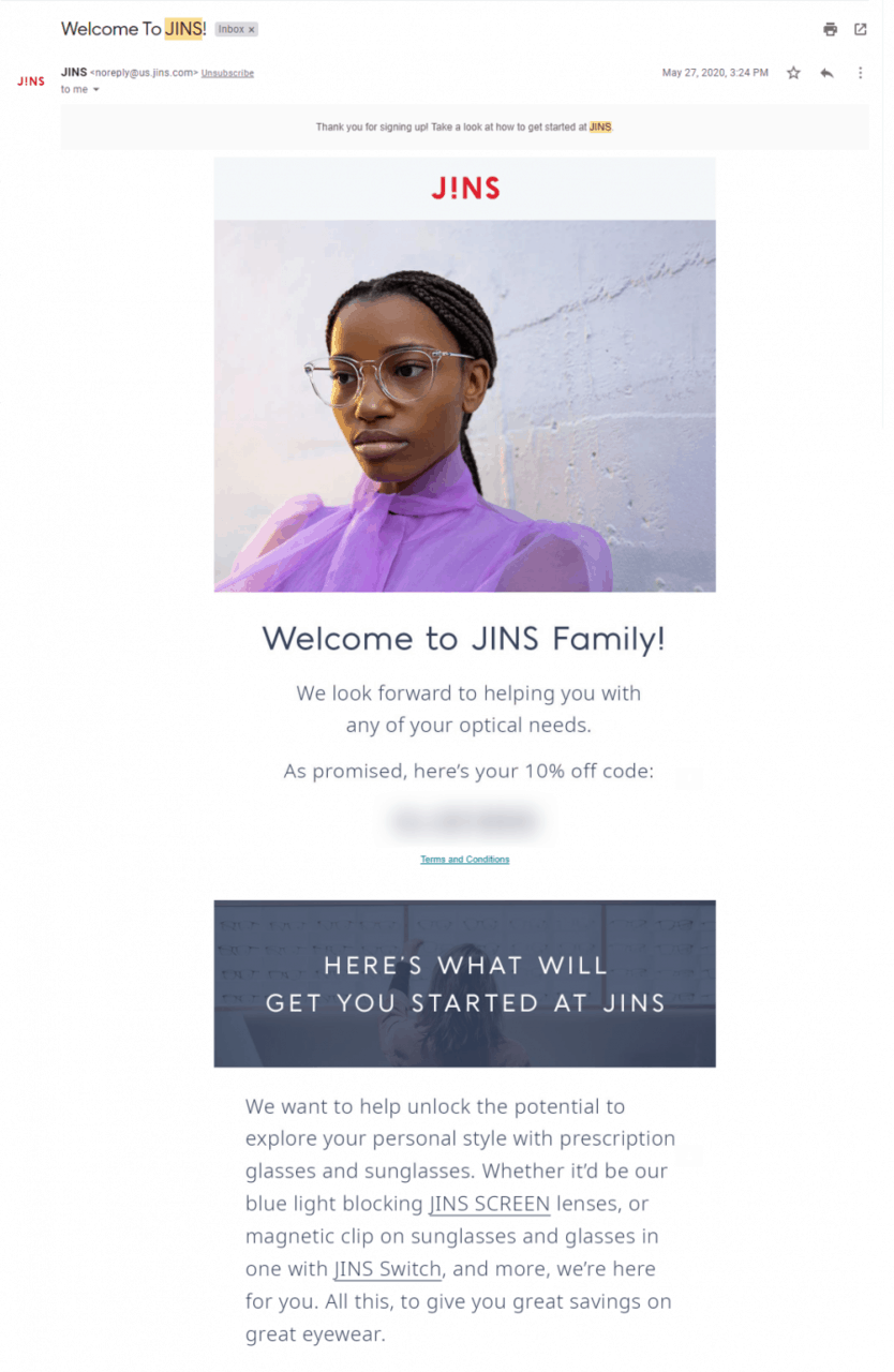 JINS welcome email